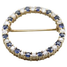 Sapphire and Diamond Circle Pin