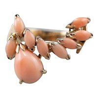 Sweeping Vintage Coral Cocktail Ring