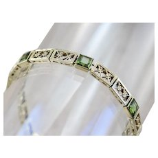 Art Deco Green Tourmaline Filigree Link Bracelet