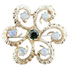Vintage Demantoid Garnet and Opal Brooch
