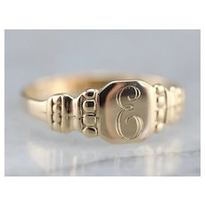 "Antique ""E"" Initial Signet Ring"