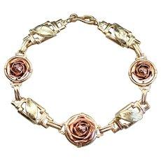 Retro Era Rose Bud Link Bracelet