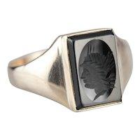 Vintage Black Onyx Intaglio Ring