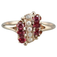 Ruby Cultured Pearl Anniversary Ring