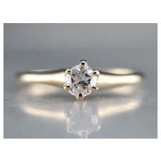 European Cut Diamond Solitaire Engagement Ring