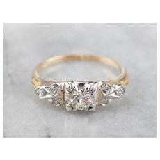 Two Tone Retro Era Diamond Engagement Ring