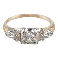 Two Tone Retro Era Diamond Engagement Ring