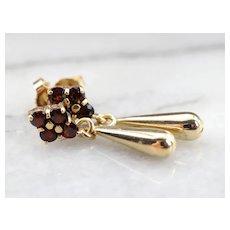Garnet and 14 Karat Gold Teardrop Earrings