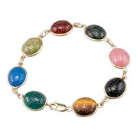 Fine Multi Stone Scarab Link Bracelet