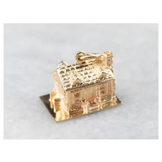 14K Detailed House Charm or Pendant