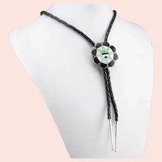 Zuni Leather and Multi Gemstone Intarsia Bolo Tie