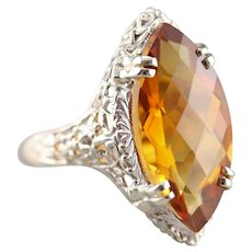 Marquise Citrine Solitaire Ring