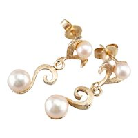 Ornate Scrolling Cultured Pearl Drop Earrings