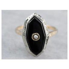 Retro Black Onyx Two Tone Ring