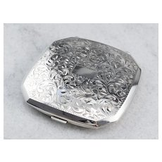 Ornately Engraved Antique Compact Case