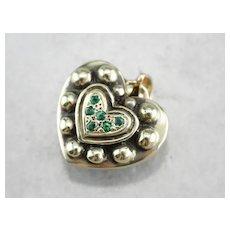 Reversible Emerald and Diamond Heart Pendant