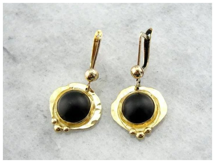 Artistic Black Onyx Handmade Drop Earrings
