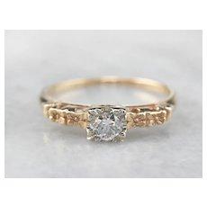 Vintage Floral Diamond Solitaire Engagement Ring
