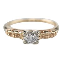 Vintage Floral Diamond Solitaire Engagement Ring