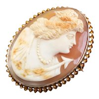 Greek Goddess Artemis Cameo Brooch or Pendant