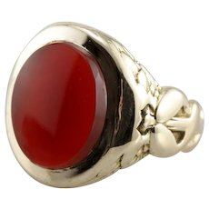 Victorian Carnelian Ring with Medical Caduceus Motif