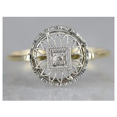 Pretty Diamond Solitaire Filigree Ring