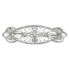900 Platinum Edwardian Lace Filigree Pin with Outstanding Mine Cut Diamonds