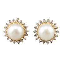 Elegant Cultured Pearl and Diamond Halo Earrings