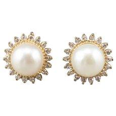 Elegant Cultured Pearl and Diamond Halo Earrings