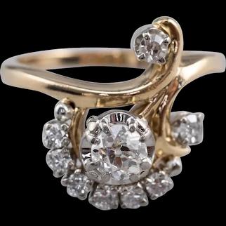 Vintage Old Mine Cut Diamond Cocktail Ring