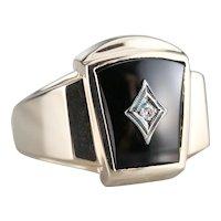 Mid Century Black Onyx and Diamond Ring