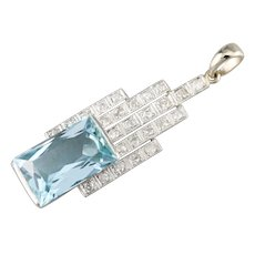 Upcycled Deco Diamond and Aquamarine Pendant
