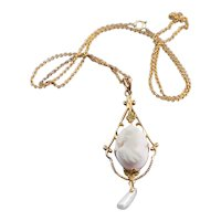 Antique Pink Cameo and Freshwater Pearl Necklace