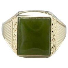 Art Nouveau Men's Green 14 Karat Gold Jade Cabochon Ring