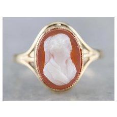 Vintage Sardonyx Cameo Solitaire Ring