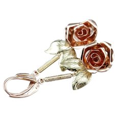 Upcycled Floral Rose Drop Earrings