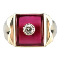 Men's Vintage Ruby Glass and Diamond Ring