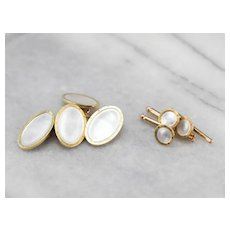 Late Deco Mother of Pearl Shirt Studs and Cufflinks Set