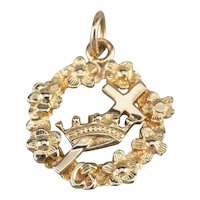 14K Masonic Crown and Cross Floral Wreath Pendant