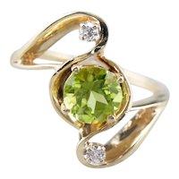 Modernist Peridot and Diamond Ring