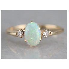 Upcycled Three Stone Opal and Diamond Ring