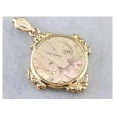 Victorian Etched Floral Locket