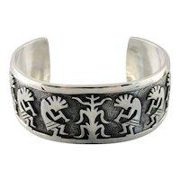 Vintage Kokopelli Sterling Silver Wide Cuff Bracelet, Kokopelli Dancer, Tribal Cuff Bracelet