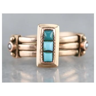 Victorian Turquoise and Cultured Seed Pearl Ring