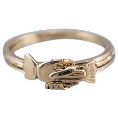 14K Clasped Hand Gimmel Ring