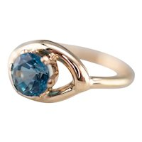 Retro London Blue Topaz Solitaire Ring