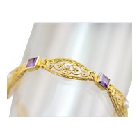 Seed Pearl and Amethyst Filigree Bracelet