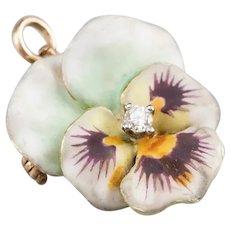 Diamond Enamel Pansy Brooch Pendant