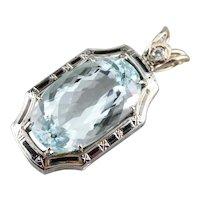 Upcycled Aquamarine Diamond and Black Enamel Statement Pendant