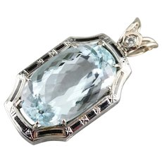 Upcycled Aquamarine Diamond and Black Enamel Statement Pendant